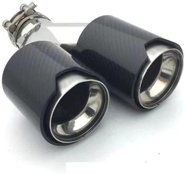 Salida de Escape doble de Fibra de carbono negra para BMW