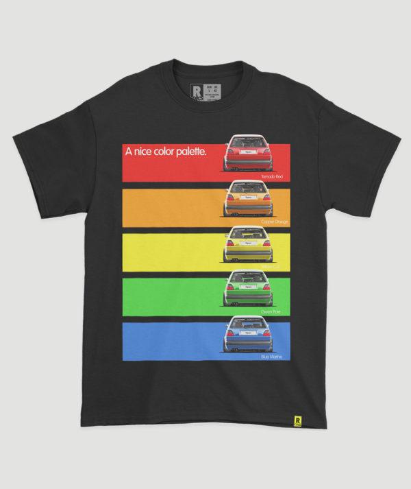 "Camiseta ""Golf Mk2 GTI A nice pallette"""